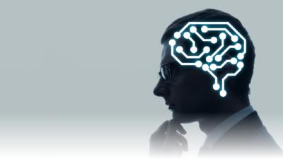 シルエットなビジネスマンの脳内電子回路